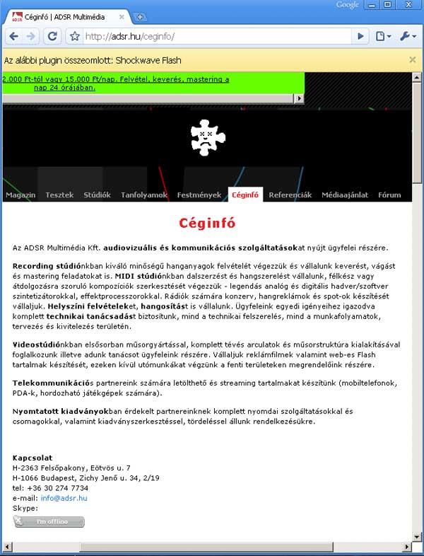 Google Chrome Adobe Flash crash info