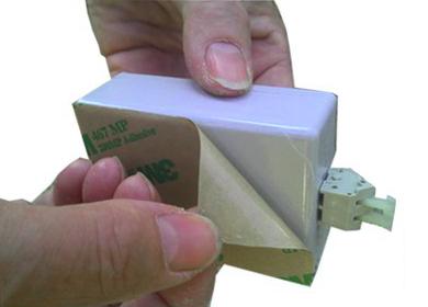 Hullámátalakító hangszóró felragasztásra szolgáló felülete, a ragasztás alkalmazása