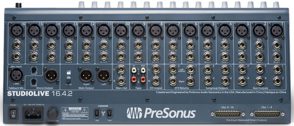 PreSonus StudioLive back