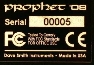 Dave Smith Instruments Prophet 08 matrica